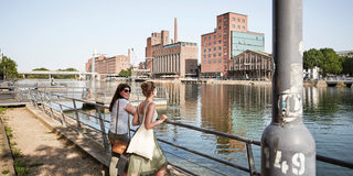 Duisburg's Inner Harbour, view to nostalgic warehouses