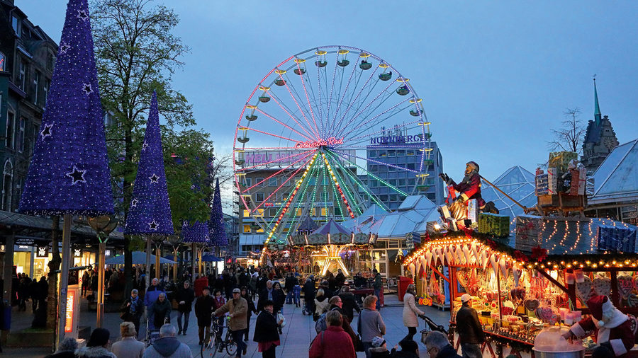 Duisburg Christmas Market with big wheel