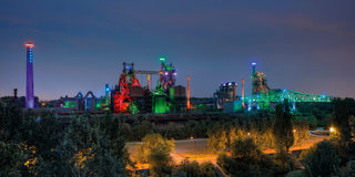 Light installation at Landschaftspark Duisburg-Nord